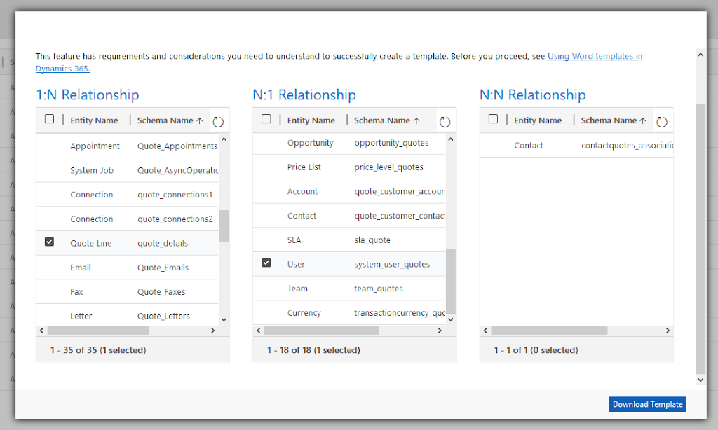 Selecting the relationship details to include in the document